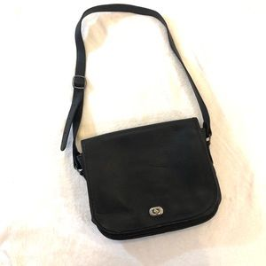 Vintage Black Leather Flap Shoulder Bag Purse